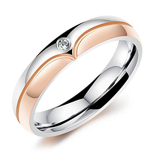 iLove EU Edelstahl Ring Zirkonia Rose Gold Silber Lieben Valentinstag Paar Partner Hochzeit Verlobungsringe Trauringe Damen - Größe 50