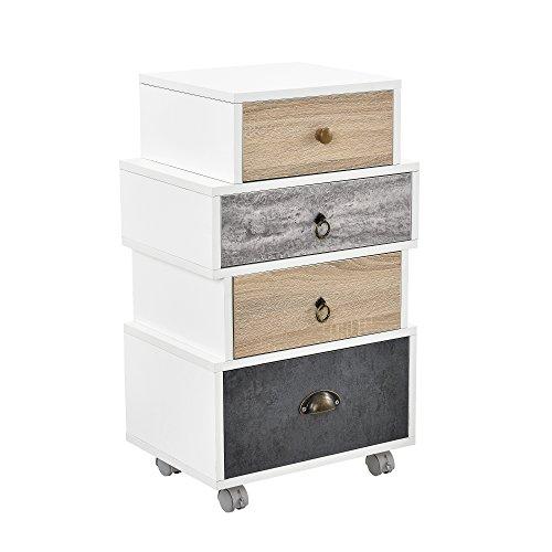 [en.casa]®] Cómoda diseño Retro Highboard/Sideboard con 4 cajones - Blanco/Gris / Roble con Ruedas