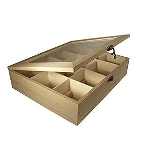 Rayher boite à thé en bois à 12 compartiments - boite de rangement pour vos condiments, sachets de thé, épices, café en dosettes - boite à bois à décorer idéale pour toute décoration créative - beige