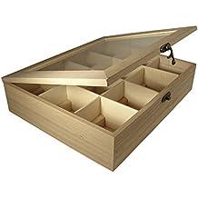 Rayher - Caja de Madera para bolsitas de té, 12 Compartimentos, 28,5
