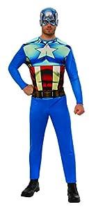 Marvel - Disfraz de Capitan América para hombre, Talla M adulto (Rubie