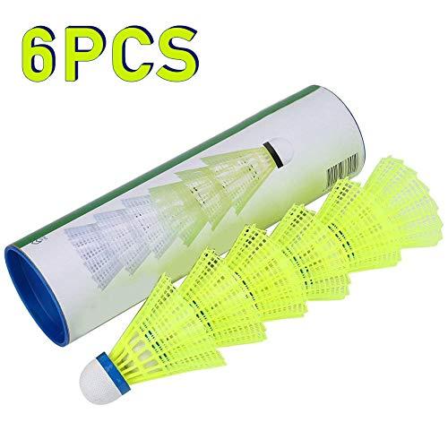 6Pcs Nylon Badminton Ball, professionelle Federbälle Badmintonbälle Shuttle Schnell Haltbarkeit Stabilität 6er in einer Dose Gelb für Outdoor Sport Training