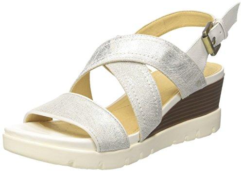 Geox d marykarmen plus b, sandali con zeppa donna, bianco (white), 37 eu