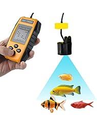 Fisch Finder, PHOEWON 100M Tragbaren LCD Tiefe Sonar Sensor Echolot Fischfinder für Boot, mit Alarmfunktion 25 Fußkabel