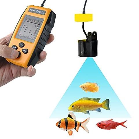 Fish Finder, PHOEWON Portable Détecteur de Poisson Fish Finder Echo Sondeur Peche 100m, Sonar Pêche Capteur de Faisceau