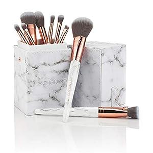 Lily England Conjunto de Brochas de Lujo de Maquillaje con Estuche Organizador | 9 Brochas Profesionales para Maquillaje de Cara y Ojos, Fibras Veganas Sintéticas – Mármol y Oro Rosa