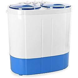 oneConcept DB003Mini machine à laver de camping pour Singles (Toploader, pour 2kg de linge 1340rpm, Silencieux) Blanc/Bleu