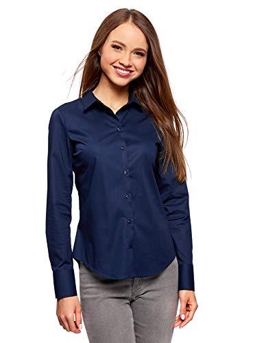 oodji Ultra Donna Camicia Basic in Cotone, Blu, IT 42 / EU 38 / S