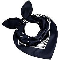 Tobeni 000803 Women Men Neckerchief Bandana Head Scarve Dots Scarves Cotton Unisex Colour Navy Size 55 cm x 55 cm