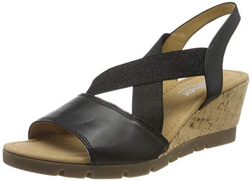 Gabor Shoes Comfort Sport, Sandali con Cinturino alla Caviglia Donna, Nero (Schwarz(Kork/Amber) 57), 35 EU