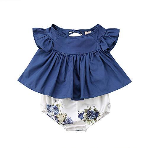erthome Baby Mädchen Floral T-Shirt Kleid Tops Shorts Hosen Mode Kleidung Outfit 2tlg Set (6 Monate, Blau) - Baby-kleid-hose