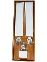 Bretelles pour Femmes / Hommes avec 3 pinces en gris claire - 35mm de Largeur