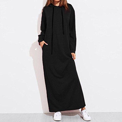Robe à capuche,Jimma Femmes Robe À Capuche, Hoodies Longue Robe À Manches Longues Noir