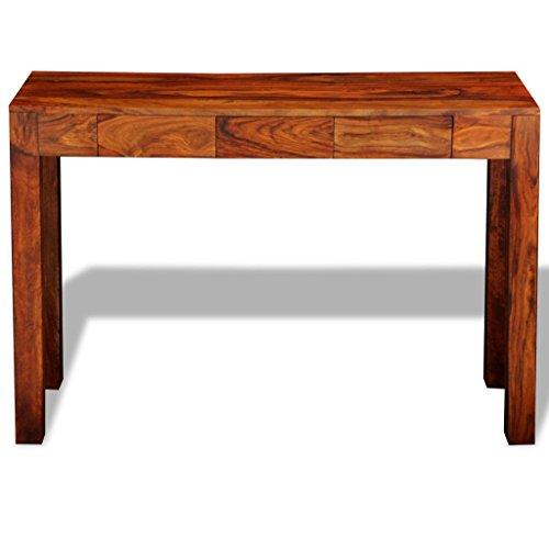 Festnight tavolo consolle allungabile tavolino laterale legno di sheesham 3 cassetti 80 cm