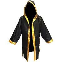 El boxeo abrigo negro oro tamaño sénior