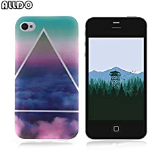AllDo Coque iPhone 4 iPhone 4S Housse Protection Etui Souple Flexible Coque TPU Silicone Soft Case Cas Motif Original Housse Ultra Mince Etui Poids Léger Couverture Anti Rayure Coquille Anti Choc - Ciel Bleu&Nuage Blanc
