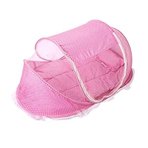 Baby Crib Mosquito Net, Foldable Baby Crib With Mosquito Net Portable 0-3 Years Bedding Bed Cotton Sleep Travel Beds Cribs Pillow Mat Seat Set (Pink)   4