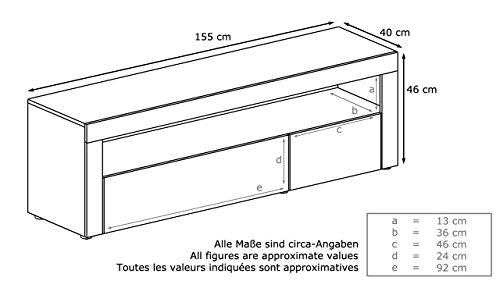 tv board lowboard valencia korpus in schwarz matt front. Black Bedroom Furniture Sets. Home Design Ideas