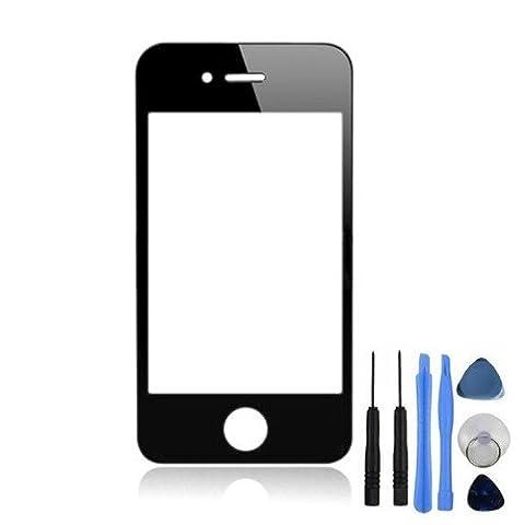 BisLinks® vitre d'écran avant avec cadre noir pour iPhone 4