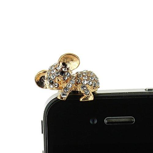 Schmuck für Mobiltelefon Koala Strass [Samsung Apple iPhone Nokia microsoftlumia HTC One Sony Xperia]-Gold (Iphone Schmuck)