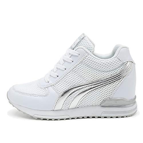 AONEGOLD® Sneakers Zeppa Interna Donna Scarpe da Ginnastica Basse Sportive Fitness Tacco Zeppa 7 CM Nero Bianco Grigio (41 EU, Bianco)