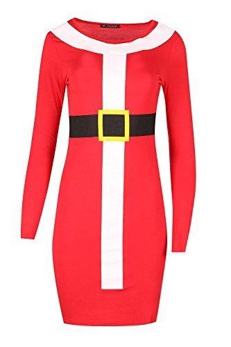 Be Jealous Damen Langärmlig Santa Fest Bodycon Weihnachten Kostüm Minikleid Uk Plus Size 8-22 - Rot, Übergröße (Weihnachten Plus Kostüme Size)