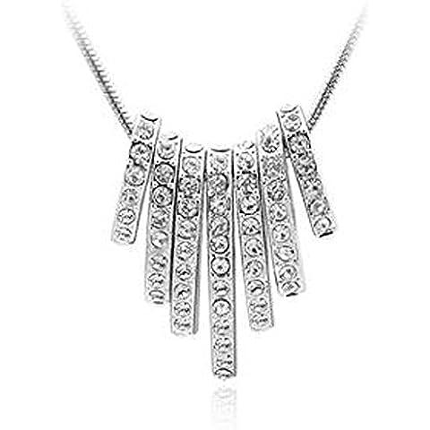 7 Ovali tempestato di cristalli Swarovski Elements 18ct oro bianco placcato, Regalo di compleanno di