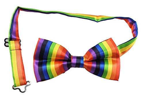 Di lusso da uomo Unique Smoking controlli e strisce in raso regolabile Papillon arcobaleno strisce verticale