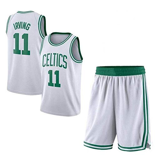 AKCHIUY Jersey NBA Boston Celtics- # 11 Herren Basketball Jersey Herren Mesh Basketball Swingman Jersey Ärmellose Sportweste Top Und Shorts,White-M -