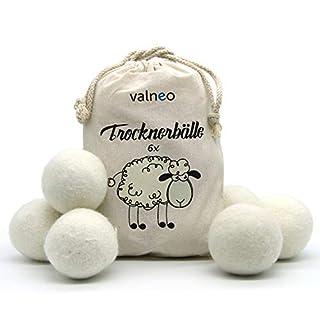 VALNEO 6 Trocknerbälle aus 100% natürlicher Schafwolle - umweltschonend, strom- und zeitsparend