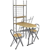 Preisvergleich für vidaXL Küchentisch + 2 Stühle Küchenbar Frühstückstheke Hocker Küchen klappbar