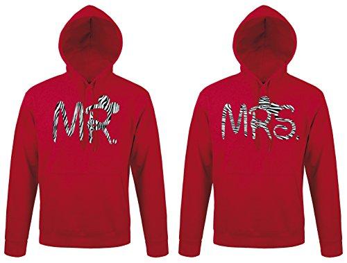 TRVPPY - Couple Partenaire 2x Sweat Pull à capuche / modèle Mr & Mrs Mister Misses Mickey Mini / pour Homme & Femme / différentes tailles et couleurs Zebra-Rouge