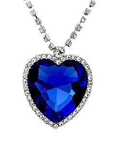 Crunchy Fashion Blue Sapphire Heart Pendant Necklace For Women