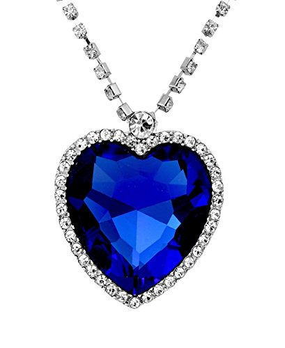 Valentine Gift by Crunchy Fashion Valentine Special Titanic Inspired Heart of Ocean Necklace for Girls  available at amazon for Rs.445