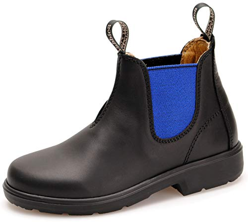 Yabbies for Kids Leder Boots Schuhe für Kinder Stiefelette – Black/Royal Blue + Lederwax von Solitaire (UK 03 / EU 35.5)