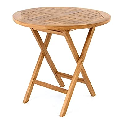 DIVERO Runder Balkontisch Gartentisch Beistelltisch Holz Teak Tisch für Terrasse Balkon Wintergarten witterungsbeständig behandelt massiv klappbar Ø 80 cm natur