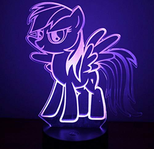 Cartoon Rainbow Dash 3D Lampe 7 Farben Ändern Touch Tabelle Kleines Nachtlicht Acryl Usb Kabel Licht Basis Lampe Kinder Kreatives Geschenk (Rainbow Licht Dash)