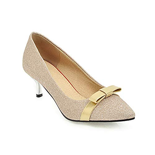 BalaMasa Damen Standard & Latein Low-Top Spitze Zehe APL11523 Stiletto-Pumpen Gold - 36 EU (Etikette:36) Womens Studded Wrap