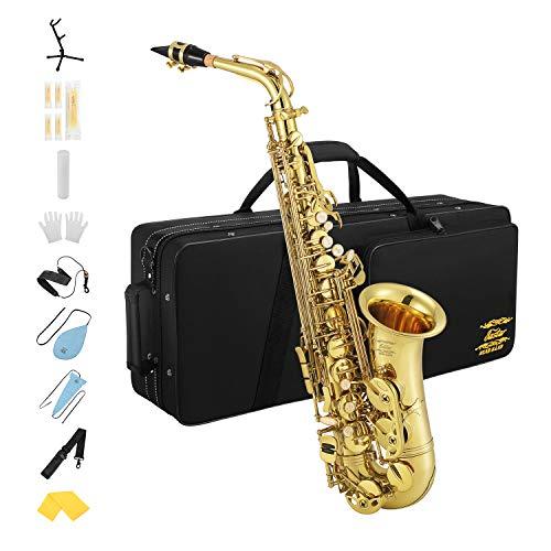 Eastar AS-III Commander E Flat Wind Band Saxophon Gold mit Tasche Gurt Tuch Kork Fett Handschuhe Ständer