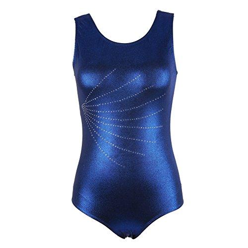 (Leotard Gymnastikanzug Gymnastik für Erwachsene Frauen Damen Shiny Leotard Gymnastikanzug Ärmellos Dancewear Bodysuit Ballett Kostüme Dancewear von Wongfon)