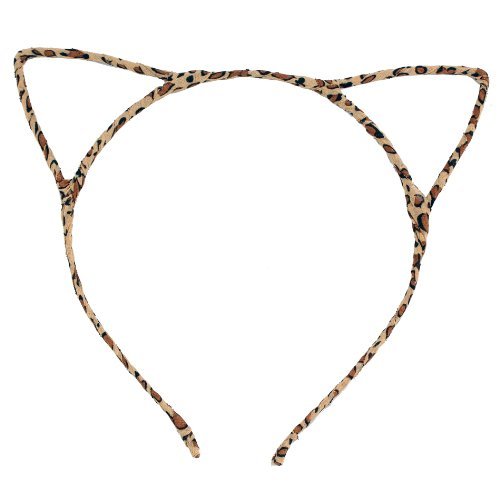 Kopfschmuck Kopfband Katzen-Ohren Haarreif Haarband Leopard Tiger-Ohren Damen Frauen Mädchen Fashion Cute Hot Halloween Karneval Party Kostüm Accessoire Beige