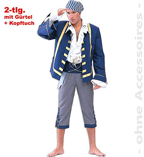 Piraten-Kostüm Freibeutler Seeräuber Männer-Kostüm Pirat Anzug Gürtel Kopftuch blau grau weiß gold - Pirat Kostüm Mann