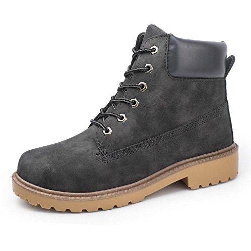 Koly Hombres Botas Primavera Otoño invierno Hombre Sólido PU Zapatos Tobillo Boots Nieve masculina Zapato Trabajo Talla grande Botas Militares Unisex Adulto Botas de cuero (43, Gris Oscuro)