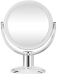 Gotofine Miroir de Maquillage 10 x Grossissement, Miroir de Table Doubleface Muni d'un Pied avec Rotation à 360 Degrés - Clair et Transparent