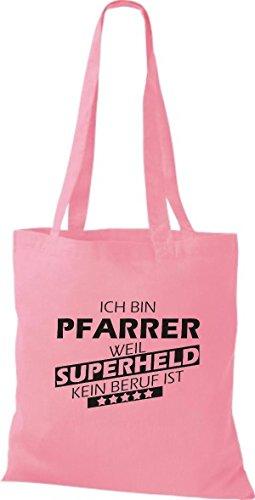 Shirtstown Stoffbeutel Ich bin Pfarrer, weil Superheld kein Beruf ist rosa
