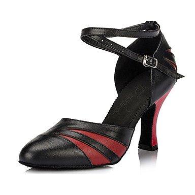 Silence @ Chaussures de danse pour femme en cuir Cuir Latin/salle de bal talons Chunky Talon d'intérieur Rouge/doré Noir/doré