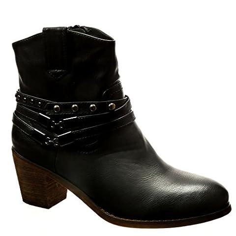 Angkorly - Chaussure Mode Bottine santiags - cowboy femme clouté chaïnes boucle Talon haut bloc 5.5 CM - Intérieur Fourrée - Noir - LX21 T 38