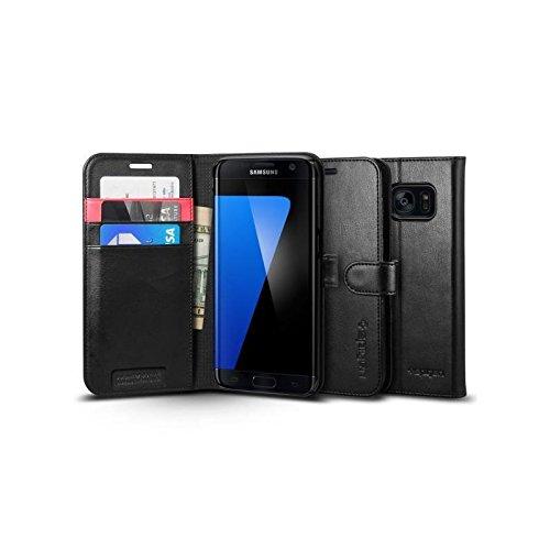 Samsung Galaxy S7 Edge Hülle, Spigen® [Wallet S] Kartenfach [Schwarz] Premium Ledertasche mit Stand-Funktion - Praktishe Leder Flip Schutzhülle für Samsung S7 Edge Case, Samsung S7 Edge Cover - Black (556CS20050) Pearl Flip Case