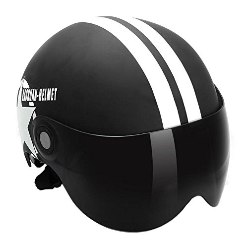 YouN - Casco de moto de media cara abierto casco estrella de cinco puntas, color negro, Color a, 270.00*245.00*150.00mm
