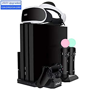 ieGeek Verbesserte PSVR Ladestation, PS4 Pro / PS4 Slim / PS4 [All-in-1] Vertikaler Standfuß Kühler Lüfter, Ladestation…